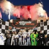 Das Siegertrio von Wimmer Werk Motorsport in der Mitte v.l. Vincent Capillaire, Lukas Dunner, Matthias Kaiser